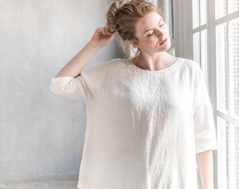 OLD LONDON kimono top in round neck / Loose linen KIMONO top with drop shoulder sleeves / Oversize linen top in cream color