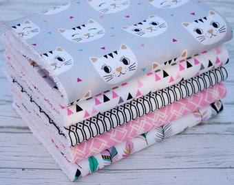 Baby Burp Cloths Set of 5, Baby Gift, Baby Shower, Newborn Burp Cloths, Baby Burpcloths, Cat Burp Cloths, Bibs and Burping