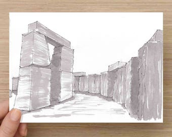Stonehenge Replica near Odessa, Texas - Monument, Solstice, England, Ink Drawing, Sketch, Black and White, Art, Pen and Ink, 5x7, 8x10