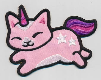 Unicorn Cat Embroidered iron on patch
