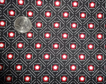 Black Red White Cotton Bandana Bandanna style Quilting Fabric 1 yard + 29 inches