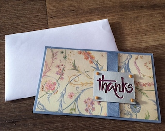 Flourishing Thanks in Yellow/Cream and Stampin' Up's Marina Mist (Medium Blue-Gray) with Gold Glitter Accents