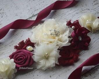 Maternity sash and 1 clip, #2,Flower belt Sash, Burgundy  ivory sash , flower girl sash, wedding sash,flower Belt, maternity sash