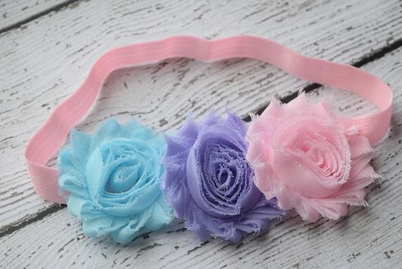 pink blue violet flowers Baby Headband, Newborn Headband,  Infant Headband,Baby Headband, Headband Baby, Baby Headband