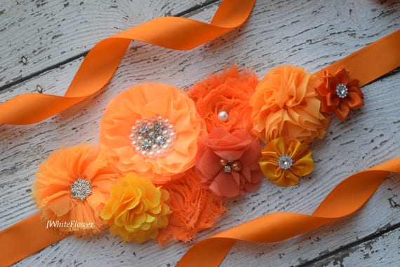 Sash, shades of orange  Sash, #2, flower Belt, maternity sash, flower girl sash, fall sash