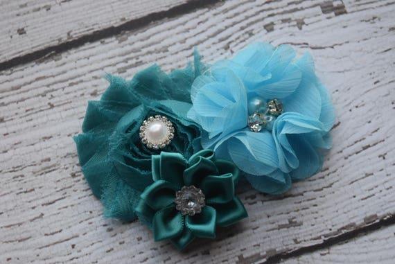 Teal blue Flower Baby clip, Newborn clip,  Infant Headband,Baby Headband, Headband Baby, Baby Headband, baptism  headband