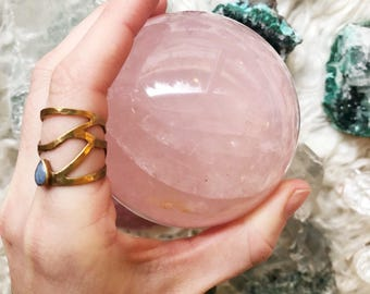 Star Rose Quartz sphere : big beautiful crystal ball