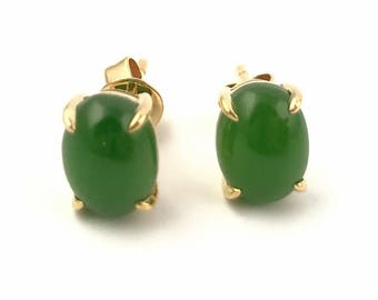 14k AA Siberian Nephrite Jade Earrings (available in Rose or Yellow Gold)