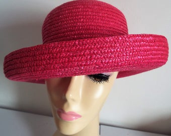 Vintage Ladies Hat Real Straw 1970s Cerise Upturned Brim which can be turned down and it akes a bucket hat