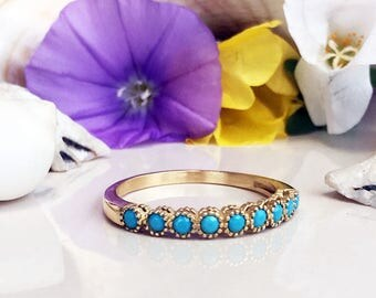 20% off-SALE!! Turquoise Ring - Sleeping Beauty Turquoise - December Birthstone - Half Eternity Ring - Bezel Ring - Turquoise Jewelry