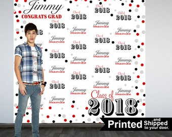 Congrats GRAD Personalized Photo Backdrop -Red and Black Photo Backdrop- Class of 2018 Photo Backdrop - Graduation Photo Booth Backdrop