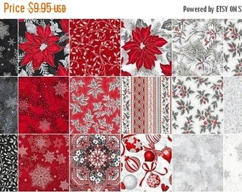AUG10 Holiday Flourish 10 Scarlet Charm Pack by Peggy Toole for Robert Kaufman
