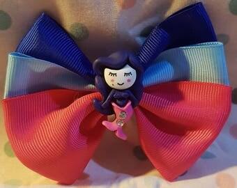 Mermaids hair bow clip. Hair bows. Mythical creatures. Mermaid, siren. Dark Blue and pink