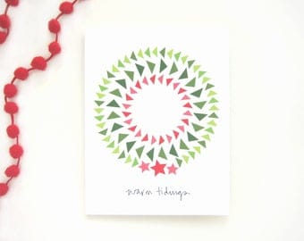 Warm Tidings Holiday Wreath Notecard - Circle of Flying Geese Quilt Pattern