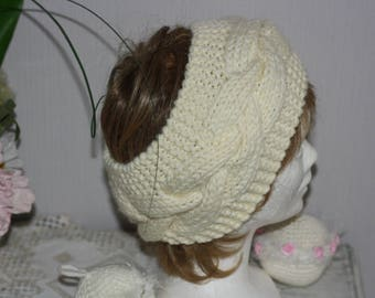 Headband ecru earmuffs