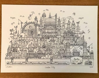 London Art Print. A3 size. Black screen print.