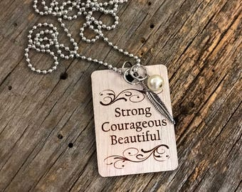 Strong Courageous Beautiful Necklace, Group Gift Ideas, Group Discounts, Wedding Gifts, Laser Engraved, Bursting Barns