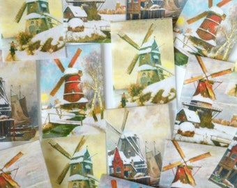Edible Winter Windmills x 16 Classic Vintage Images Wafer Rice Paper Cake Cupcake Cookie Decoration Snow Mill Dutch Holland Scene Topper