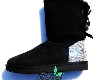Swarovski Women Bailey Bow Metallic II Ugg Boots Blinged with SWAROVSKI® Crystals