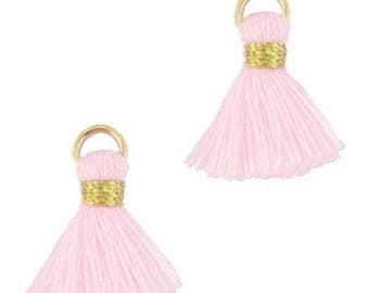 Beaded tassels, tassels, tassel pendant-1.5 cm-3 pcs.-Color selectable (color: soft pink)