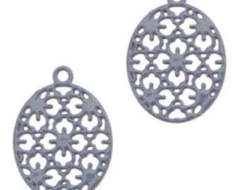 Bohemian Pendant-4 pcs.-15 mm-oval shape-color selectable (color: dark blue)