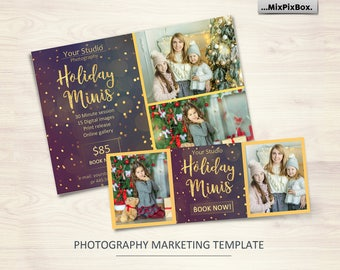Holiday Mini Session Template_V2 - Photography Marketing Board - Facebook timeline, Christmas Minis - Photoshop Template