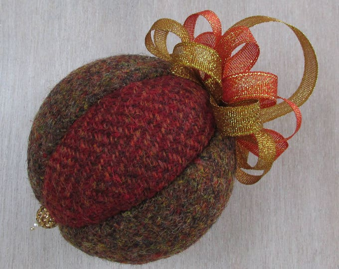 Harris Tweed Russet & Brown Luxury Christmas Tree Bauble #106