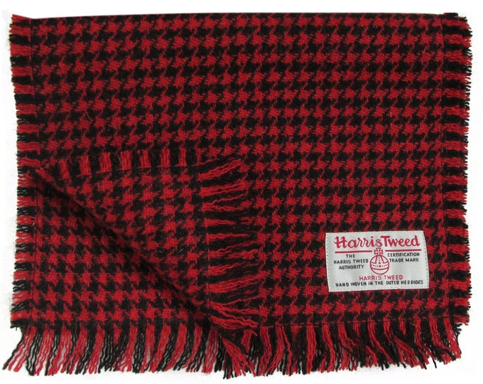 Harris Tweed Red & Black Houndstooth Luxury Pure Wool Neck Scarf