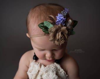 """Boho baby headband for photo shoot - The """"Faith"""" Headband - Natural / Feathers / Lavender"""