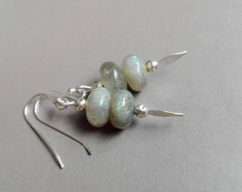 Labradorite and Silver earrings solid minimalist