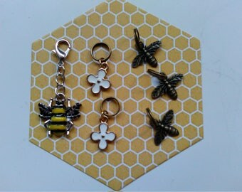 Bumble bee and flower stitch markers with bumble bee progress keeper