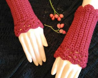 Red lace mitts