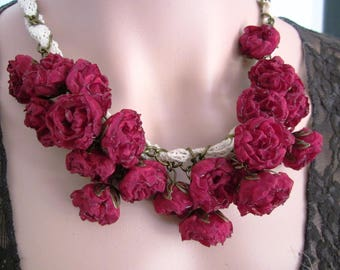 Necklace shabby chic roses antique and lace