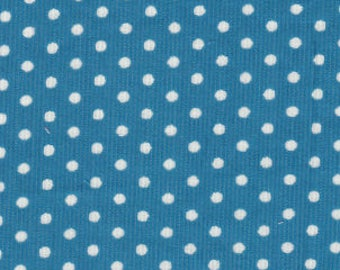 Turquoise polka dot corduroy fabric by the yard, Fabric Finders printed corduroy, 21 wale 58 inch wide apparel corduroy, aqua white dot cord