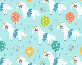 Calliope Carousel blue by Blend Fabrics, unicorn fabric by the yard, birthday fabric, kids novelty circus unicorn carousel print fabric