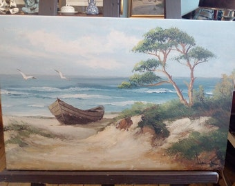 "Oil painting ""Midday rest of the fishermen"" on canvas 40 x 60 Hermann Vaegler"