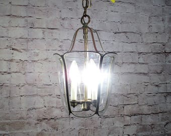 Antique Vintage Chandelier Lantern Pendant Glass Brass Petite Accent Fixture