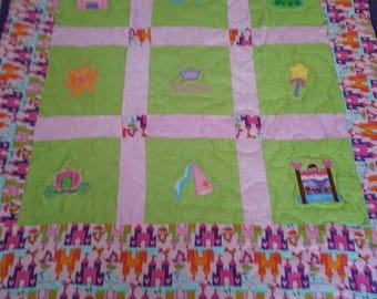 Handmade Princess Baby/Toddler/Child Applique Quilt