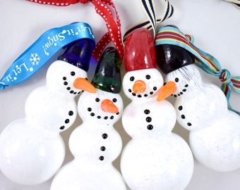 Glass Snowman Ornaments- hand sculpted, whimsical, Frosty, snowy winter wonderland, 1 of a kind, sculpture, great unique holiday gift idea