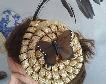 Straw Hat and tie and brown feathers
