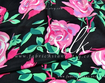 Big Pink Rose black silk crepe by the yard