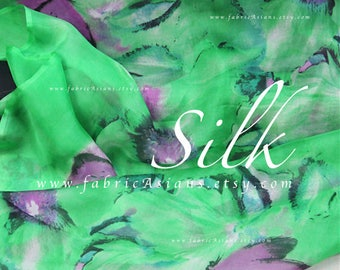Butterfly fabric green silk chiffon by the yard