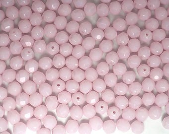 300 Pink Alabaster 6mm, Preciosa Czech Fire Polished Round Faceted Glass Beads, Czech Glass Fire Polish Beads, loose pink beads
