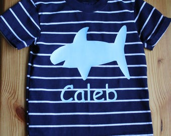 Boys vinyl monogram, shark disgn with name, toddler and baby monogram