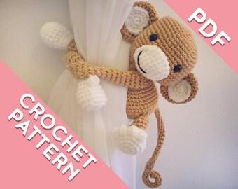 Monkey curtain tie back crochet PATTERN, tieback, left or right side crochet pattern PDF instant download amigurumi PATTERN