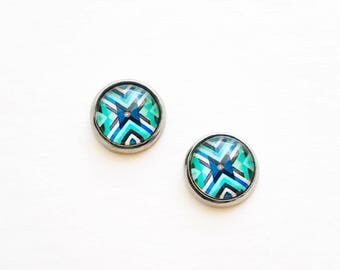 HYPOALLERGENIC Glass Cab Earrings 10mm MEDIUM (Surgical Stainless Steel) - Southwest Blue
