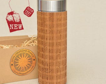 Customized Thermos Engraved Bamboo Wood NOTES Stainless Steel with Screw Lid
