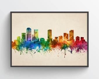 Denver Skyline Poster, Denver Art, Denver Decor, Denver City, Home Decor, Gift Idea , USCODE05P