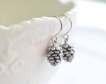 Free Gift Wrapping, Pine cone earrings, Bridesmaid gift, Everyday earrings, Wedding earrings