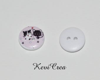 x 5 white buttons wooden cats two 15mm